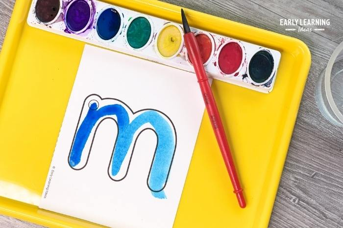 letter activities with watercolor paint