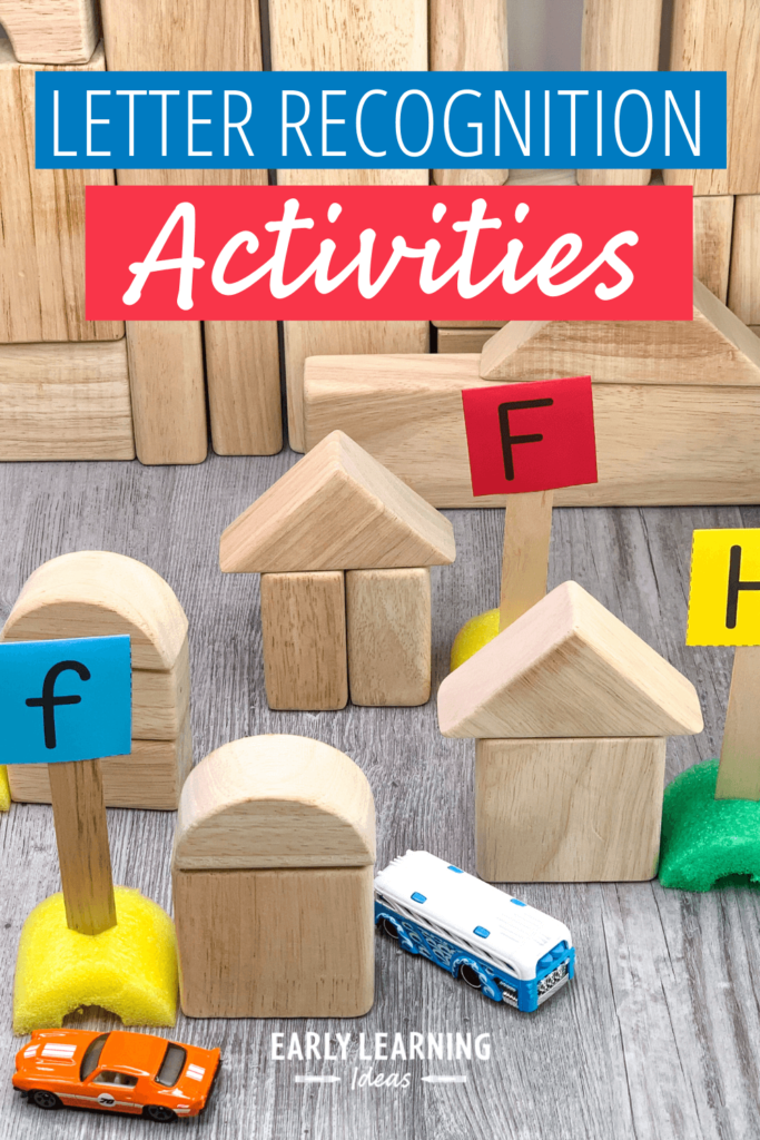 alphabet recognition activities with blocks, cars, and free letter sign printable