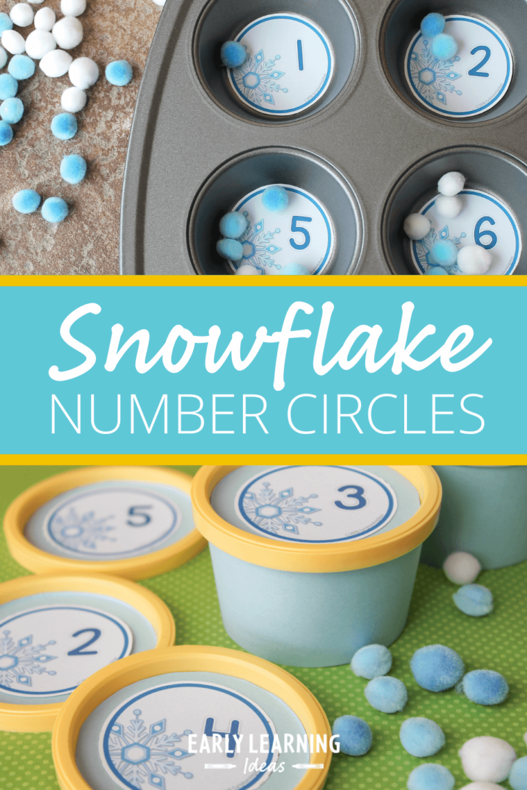 Winter Math Activities with Printable Snowflake Number Circles [Free Printable]