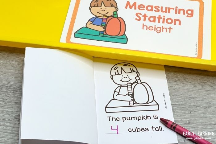 Kids can record the height of the pumpkin in their science investigation book.