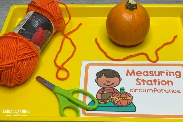 Set up a pumpkin measuring station in your science center and kids can measure the circumference with a piece of yarn.
