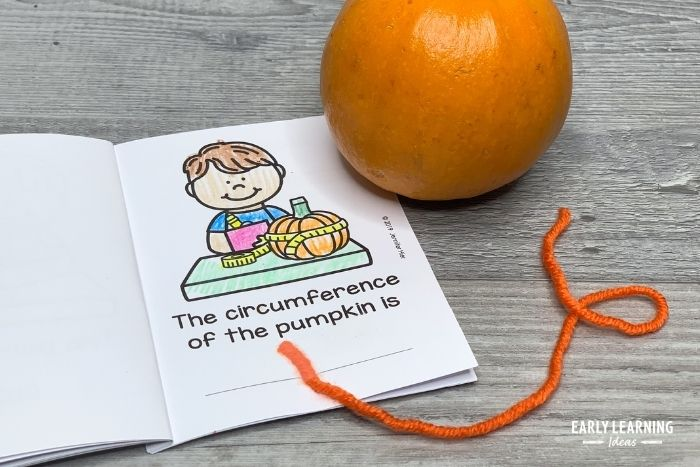 After measuring the circumference of the pumpkin tape the string in their science journal.