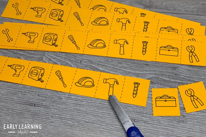 construction theme scissor skills activity for preschoolers