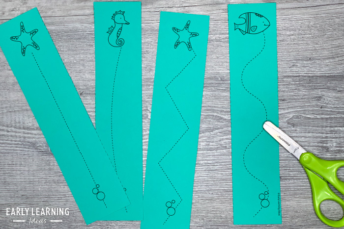 cutting strips to help kids learn to use scissors