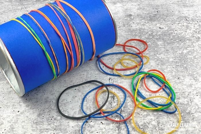 Add rubber bands to a container or pool noodle as a hand strengthening activity for preschool and kindergarten