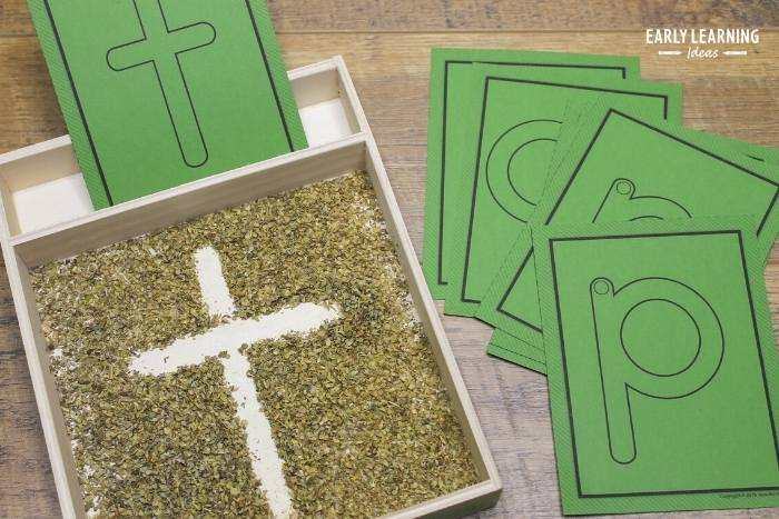 Add inexpensive oregano to your sensory writing tray or salt tray so that kids can an additional sensory input.